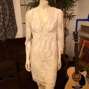 Michael Kors White Textured Crochet Dress Size 8